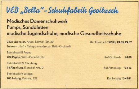 Anzeige der Bella-Schuhfabrik von 1978