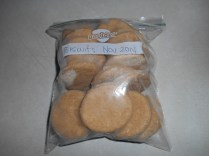 Frozen biscuits, bagged and ready to store...