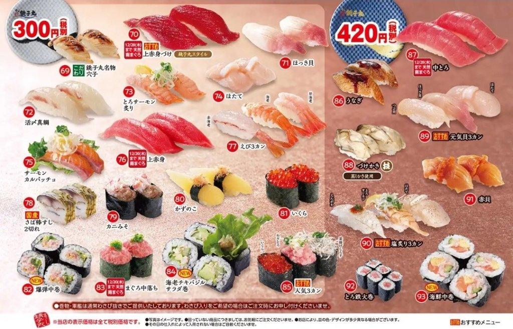銚子丸300円・420円メニュー