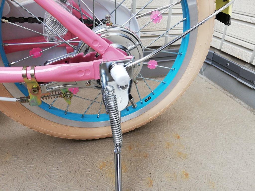 子供用自転車片足スタンド取付完了