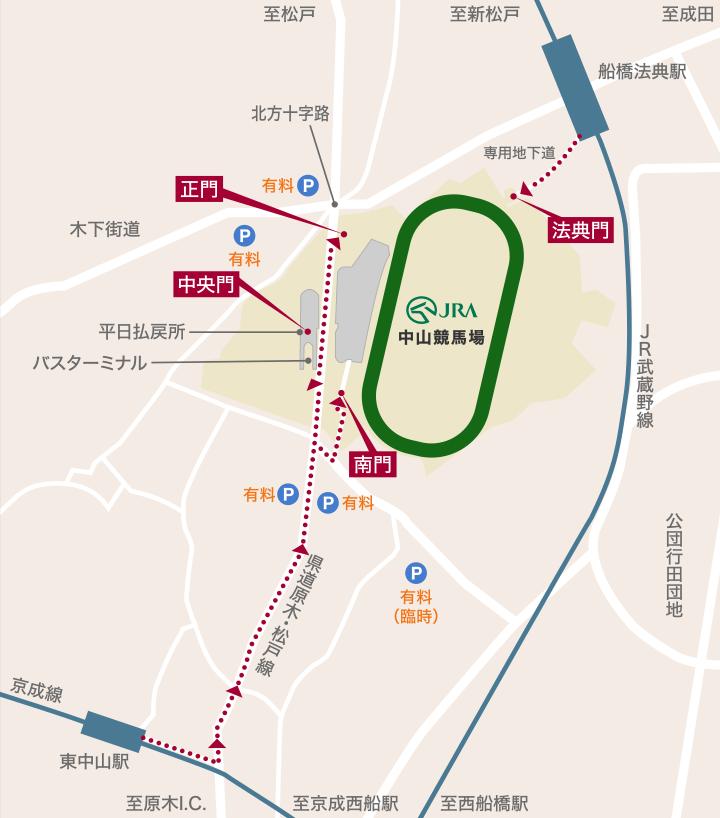 中山競馬場アクセスマップ