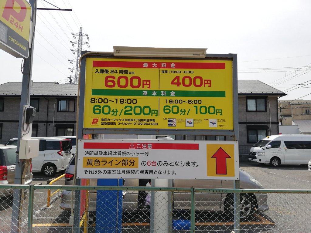 新川千本桜周辺のコインパーキングの看板