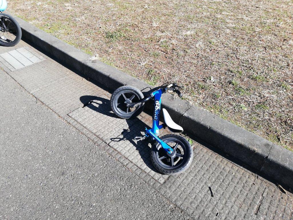 倒れているd-bike