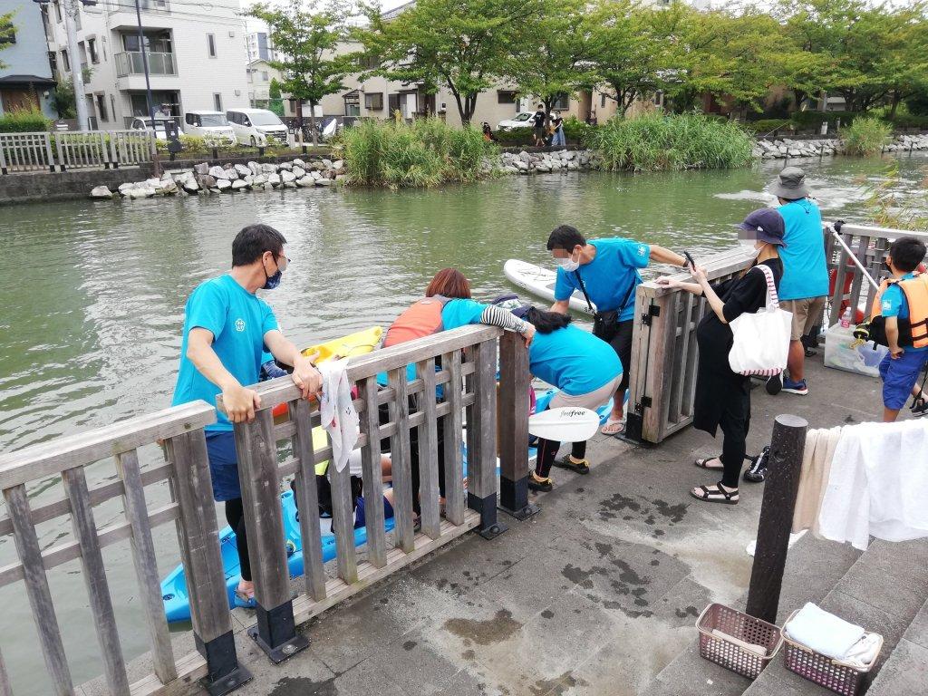 新川桜館前のカヌー乗り場