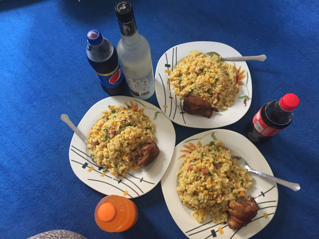 Fried rice & chicken with drinks