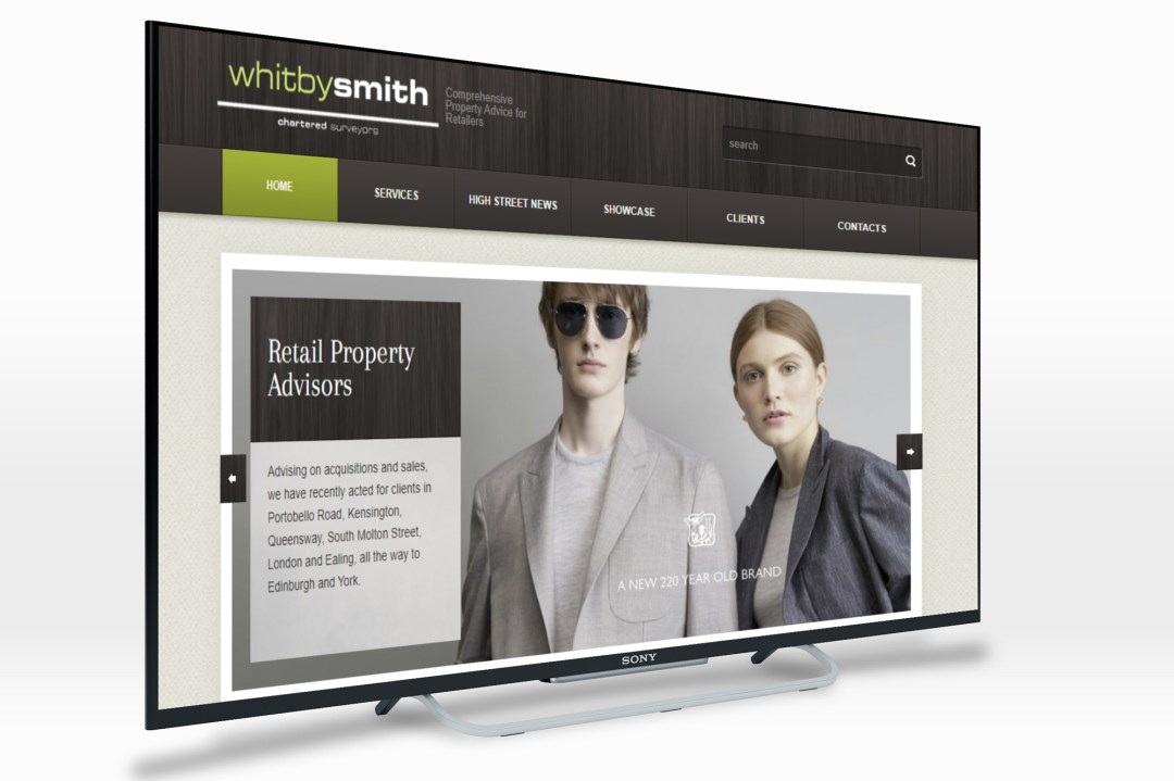 Whitby Smith website screenshot displayed on a web TV