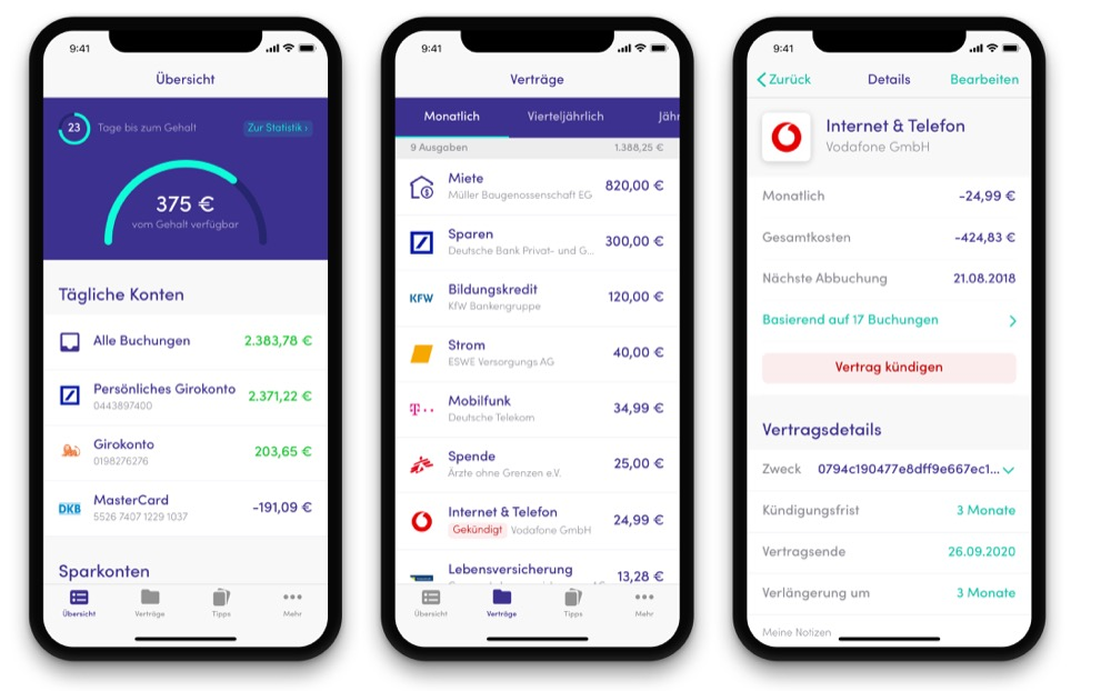 Screenshot: Finanzguru App Haushaltsbuch mit Kontoanbindung