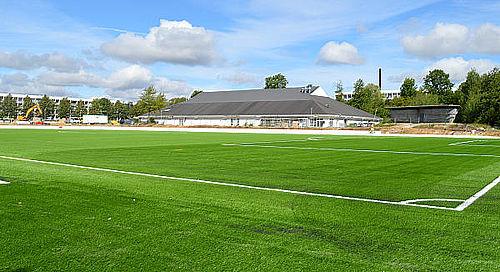 Fodboldbanen er snart færdig
