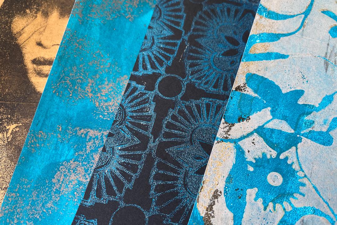 Gelli Arts Print with Metallic and Glitter Acrylics