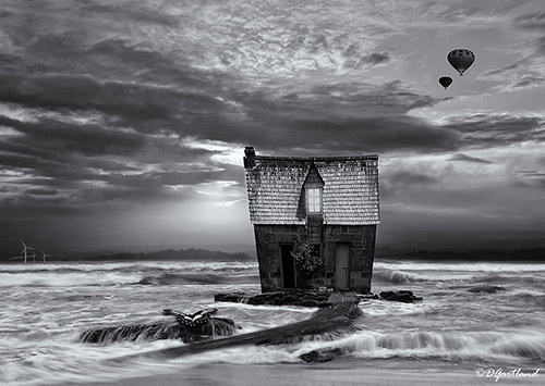 The Beach House - A4 Illustrative composite photography by Deb Gartland