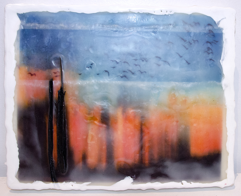 Crazy Sunset 1 - Photo Encaustic and Mixed Media