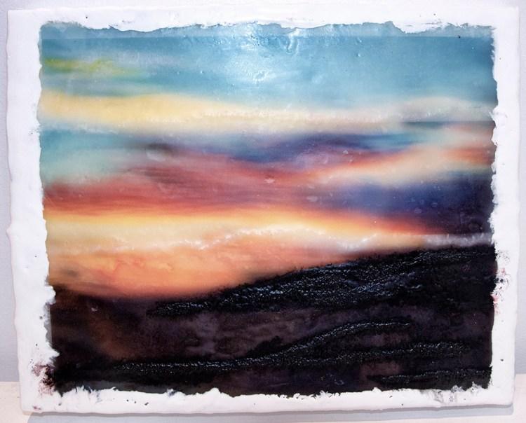 Crazy Sunset 2 - Photo Encaustic and Pan Pastel