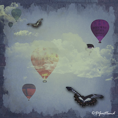 Balloons and Butterflies - Square Illustrative composite photography by Deb Gartland