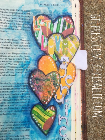 Using leftover Gel Press monoprint scraps for bible journaling