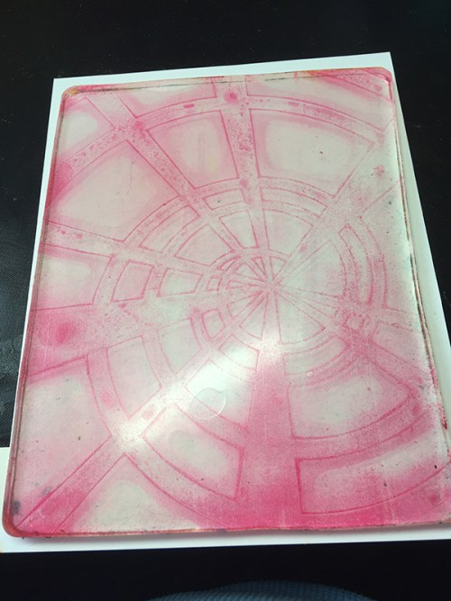 Gel Press ghost print on colored cardstock by Jen Kitchen