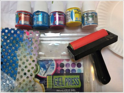 Supplies for Gel Press monoprinting on fabric