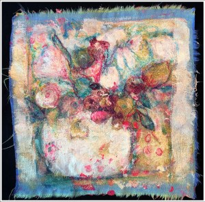 Gel Press with Pebo Setacolor on Fabric