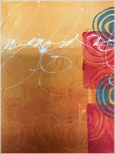Printmaking with Asemic Writing by Jacqueline Sullivan - Closeup Detail of print