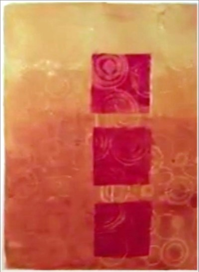 Printmaking with Asemic Writing by Jacqueline Sullivan - a trio of Petite Squares