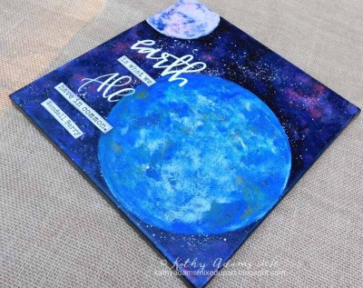 "Earth Day Canvas created using 8"" round Gel Press Plate. See video"