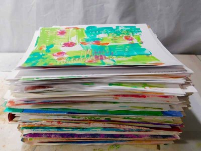 Stack of Gel Press Prints