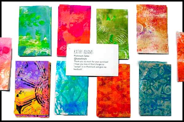DIY Gel Press Prints as Business Cards by Kathy Adams