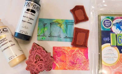 Handmade Art Business Cards with Gel Press