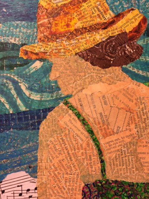 Detail of Torn Paper Collage with Gel Press by Maureen Seltzer