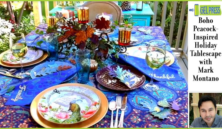 Peacock Inspired Boho Holiday Tablescape by Mark Montano