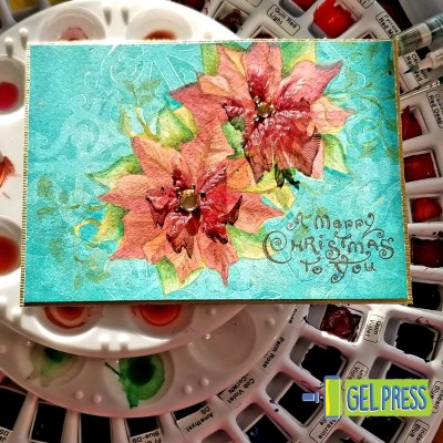 Gel Press Print-Masking for Christmas Cards by Sally Lynn MacDonald