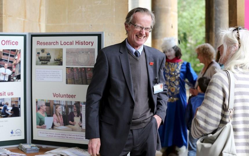 A man enjoying World Heritage Day at Parade Gardens, Bath