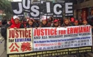 SOLIDARITAS - Ribuan buruh migran asal Indonesia menggelar aksi solidaritas untuk Erwiana di depan kantor Central Government Office (CGO) di Hongkong, Minggu (19/1). (Foto: Babungeblog.blogspot.com)