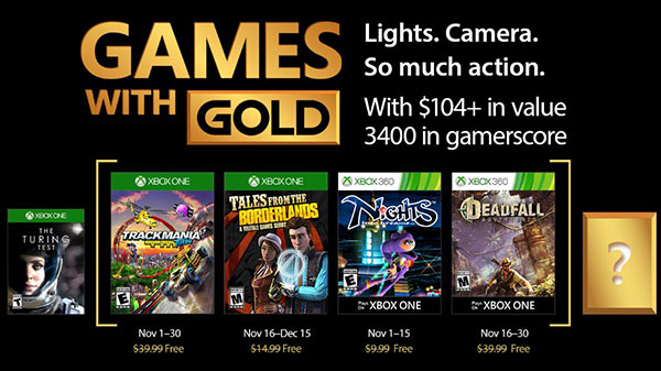 Xbox Live Gold free games for November 2017