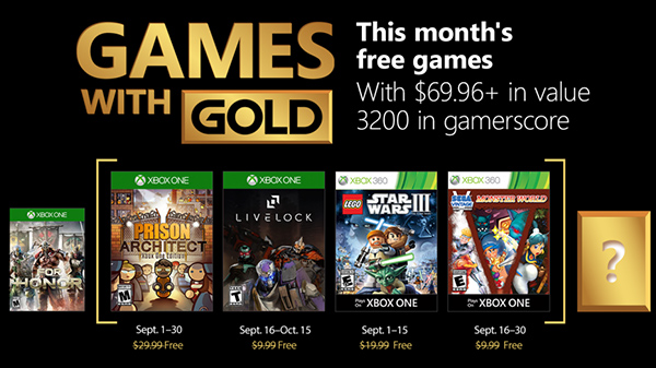 Xbox Live Gold free games for September 2018