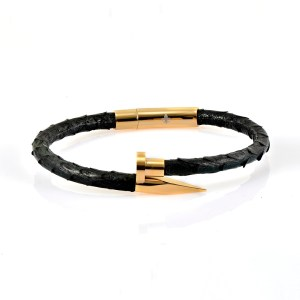 Black Python Leather Gold Nail Bracelet With 18kt Plated Gold