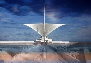 Image of Light Painting Milwaukee Art Museum Calatrava