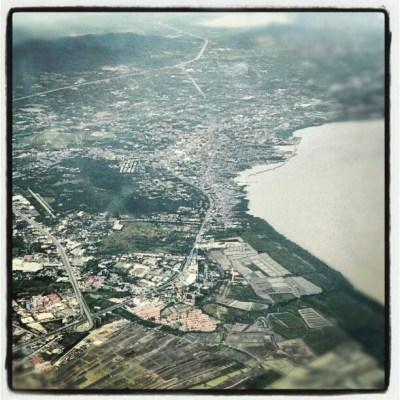Bangkok coastline as seen from a plane.