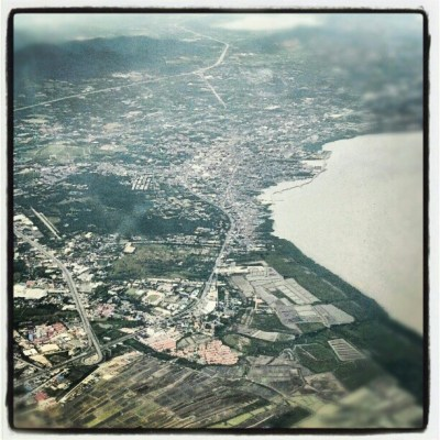 Bangkok coastline as seen from a plane.
