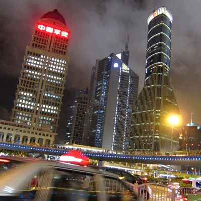Shanghai night skyline/ architecture