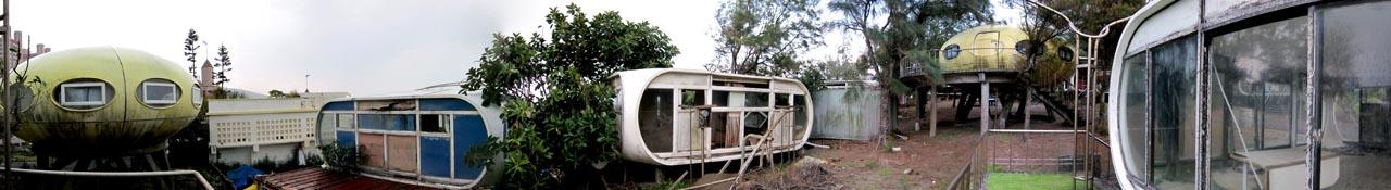 abandoned resort of pod houses/ UFO houses in Wanli, Taiwan