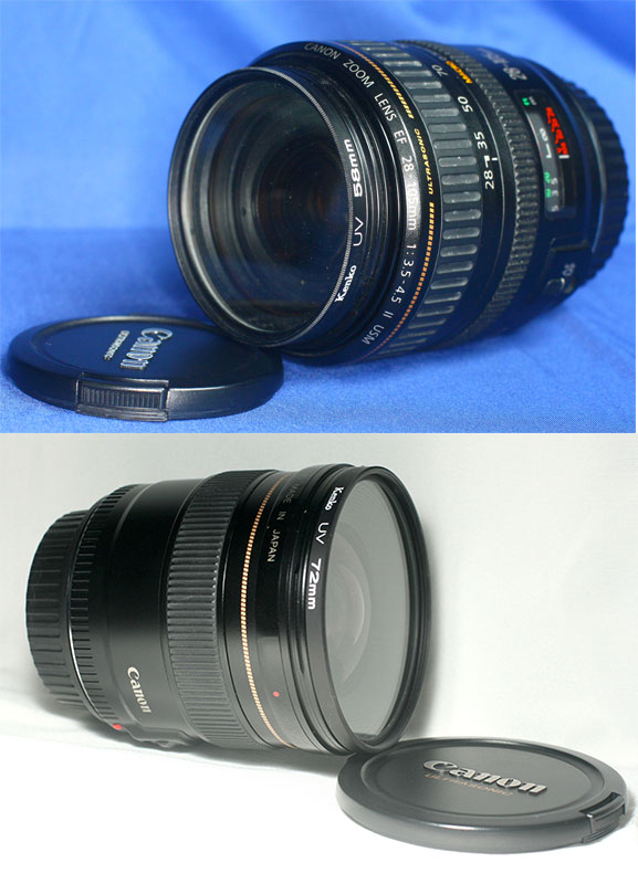 from top to bottom: Canon EF 28-105 mm and Canon EF 20 mm (see how bulky it is?)