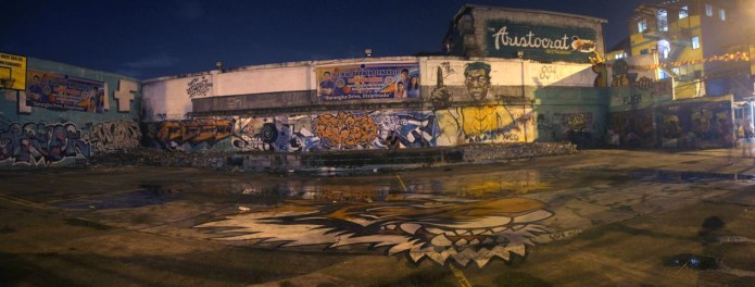 basketball court graffiti at night, Mandaluyong