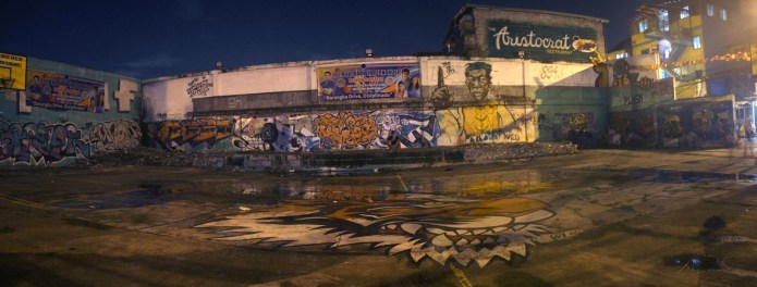 basketball court graffiti at night- panorama