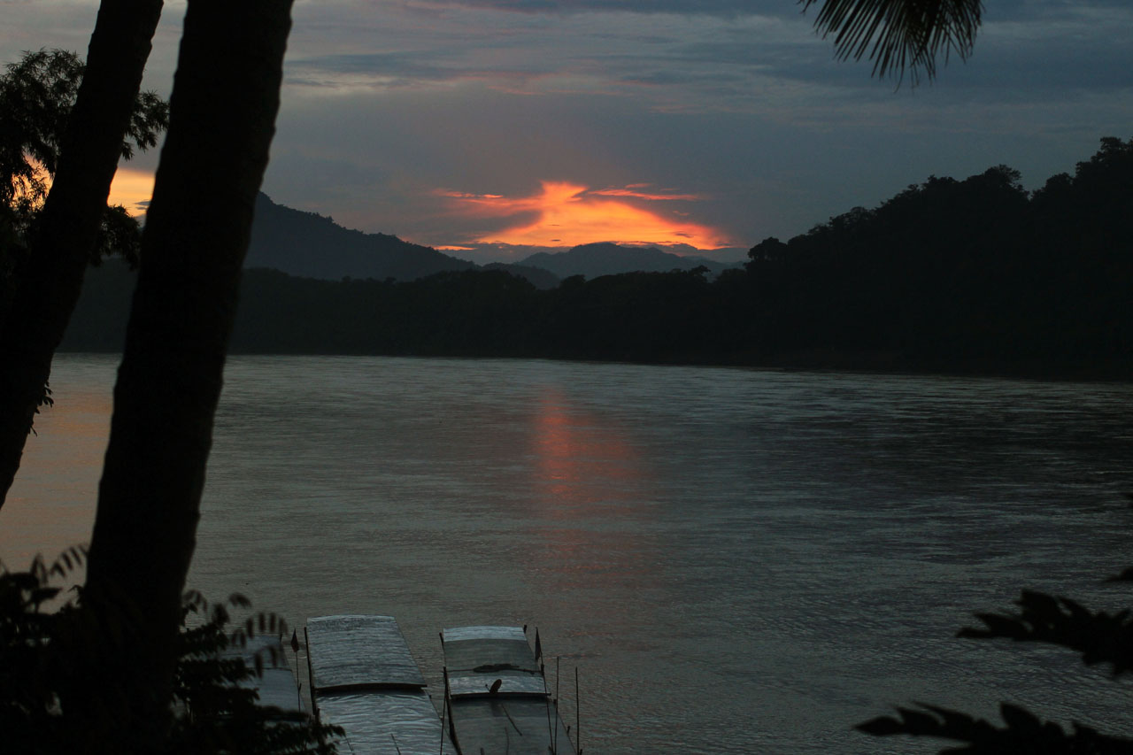 sunset by the Mekong River