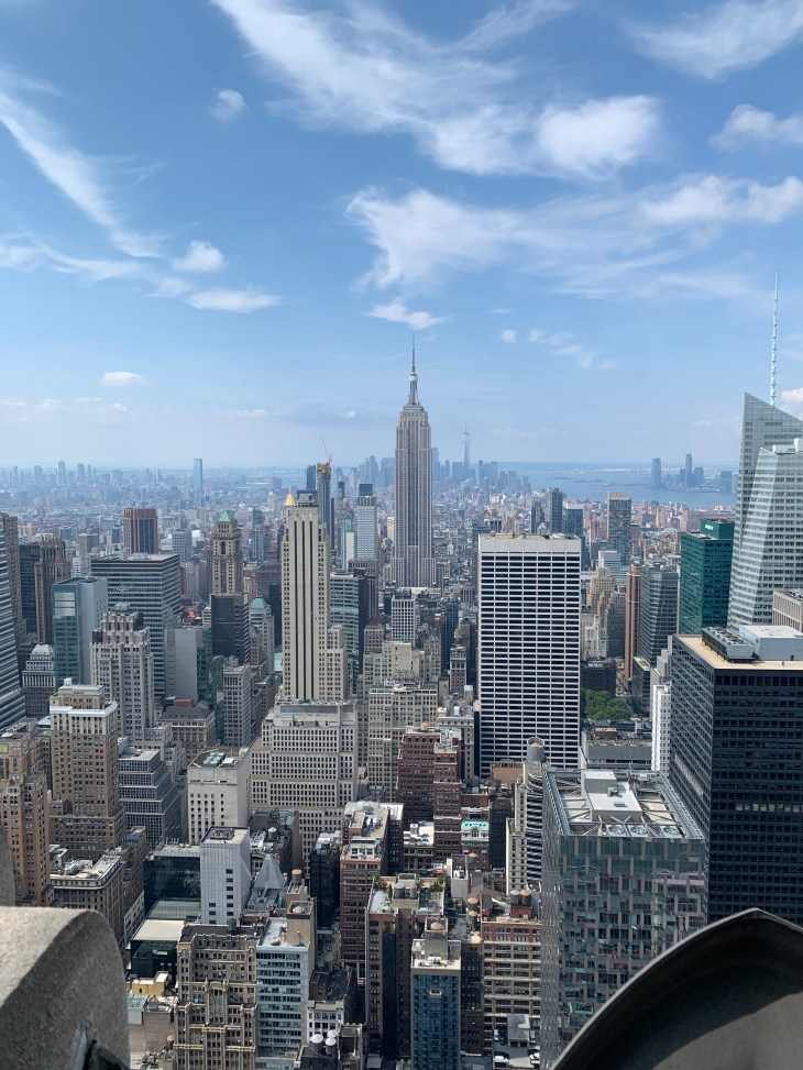 View of New York from the Rockefeller building. Including the view of the Empire State building.