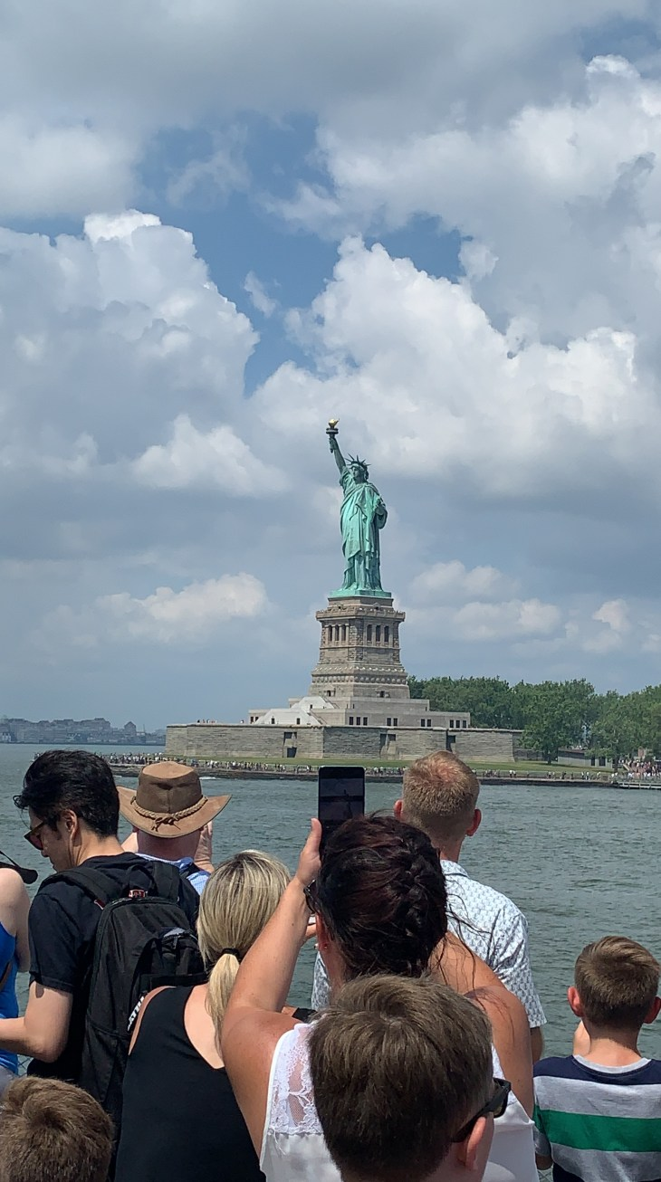The Statue of Liberty in view whilst arriving in by the boat