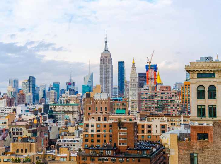 A picture of New York from an apartment. A view of the city.