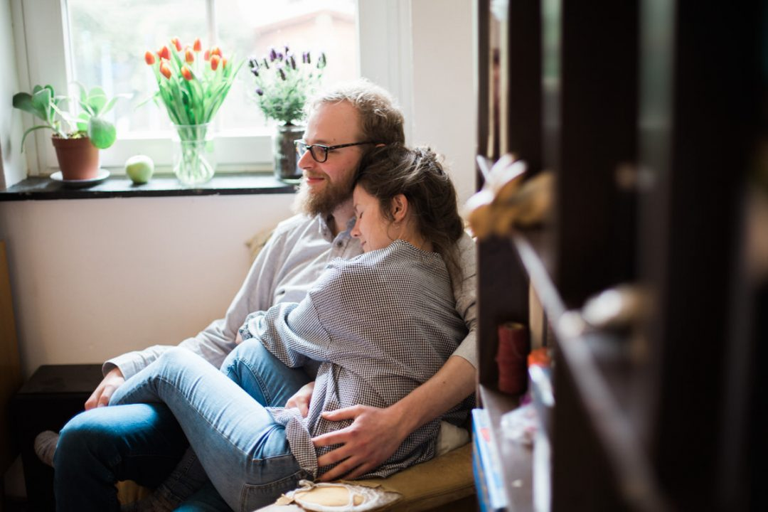 Engagement shoot in home