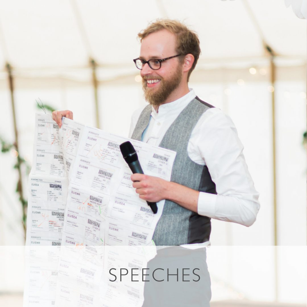 Sample wedding timeline, how long to allow for speeches?