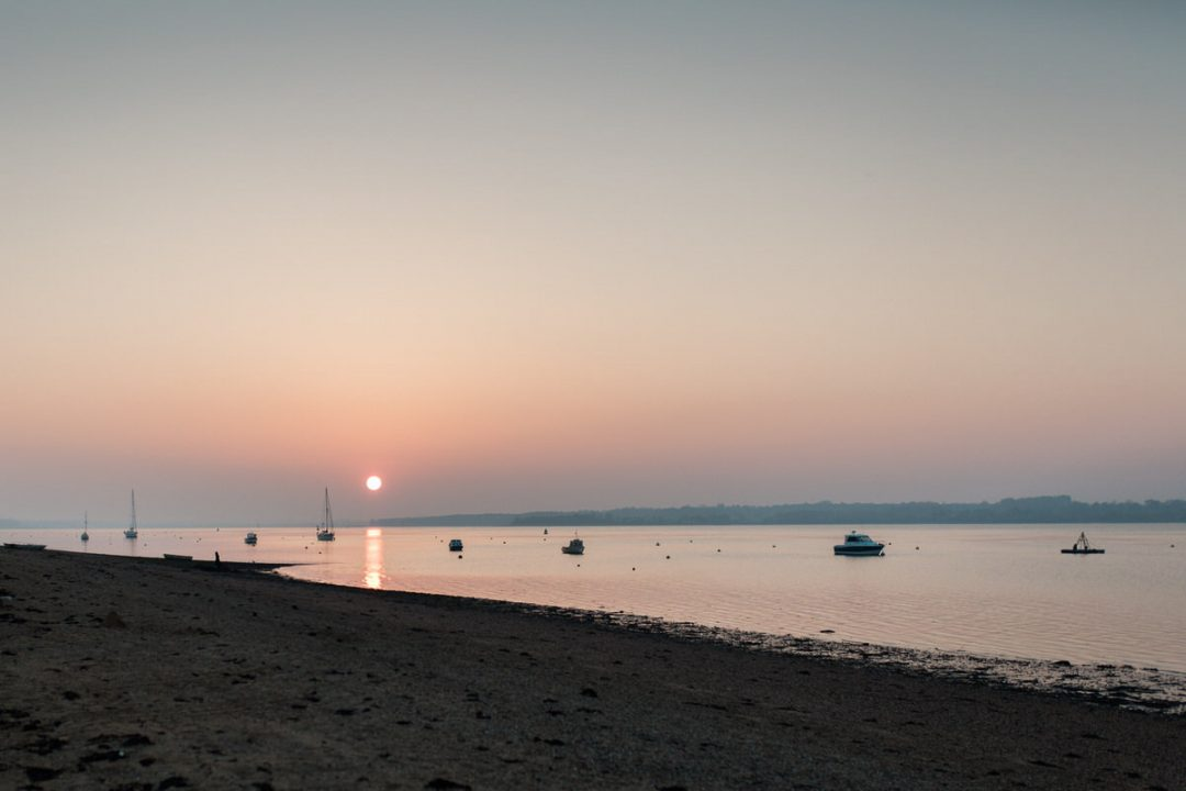 Wrabness beach at sunset